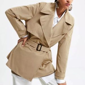 Zara new without tags faux suede trench coat